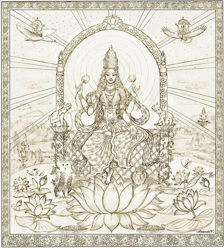 lakshmi-on-the-lotus-throne-drawing